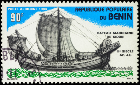 2nd century: MOSCOW, RUSSIA - MAY 03, 2016: A stamp printed in Benin shows image Sidon Merchant Ship (2nd Century), series Ships, circa 1984 Editorial