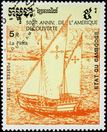 pinta: MOSCOW, RUSSIA - MAY 01, 2016: A stamp printed in Cambodia shows ship Pinta, 1st expedition of Columbus (1492), series The 500th Anniversary of Discovery of America by Columbus, circa 1991 Editorial