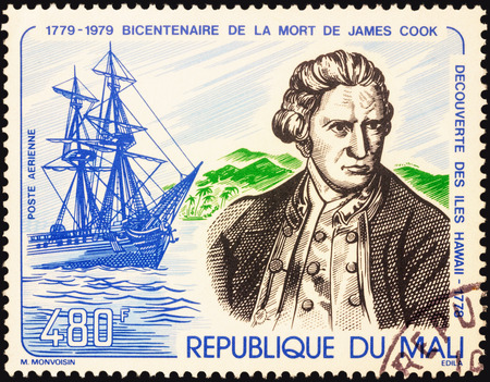 descubridor: MOSCOW, RUSSIA - MAY 03, 2016: A stamp printed in Mali shows Captain James Cook and his ship Resolution, series The 200th Anniversary of the Death of Captain  James Cook, circa 1979