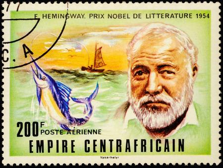 nobel: MOSCOW, RUSSIA - MAY 03, 2016: A stamp printed in Central African Republic, shows portrait of American writer Ernest Hemingway (1899-1961), series Nobel Prize  Winners, circa 1977