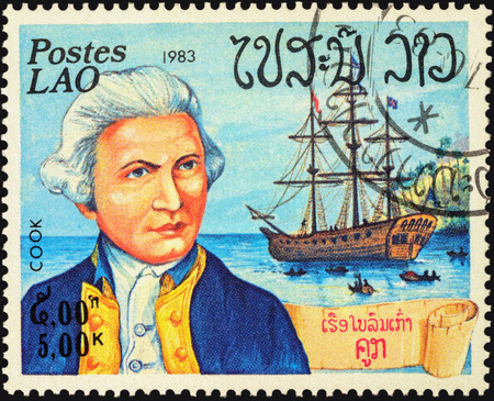 discoverer: MOSCOW, RUSSIA - MAY 06, 2016: A stamp printed in Laos shows Captain James Cook and his ship Resolution, series Explorers and their Ships, circa 1983