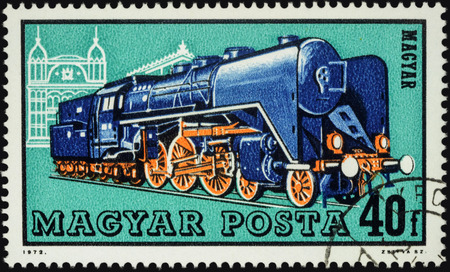 steam locomotives: MOSCOW, RUSSIA - MAY 09, 2016: A stamp printed in Hungary, shows old locomotive, series Steam Locomotives, circa 1972