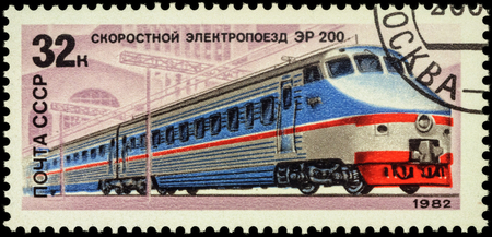 er: MOSCOW, RUSSIA - MAY 09, 2016: A stamp printed in USSR (Russia), shows Soviet high-speed train ER 200, series Locomotives, circa 1982 Editorial