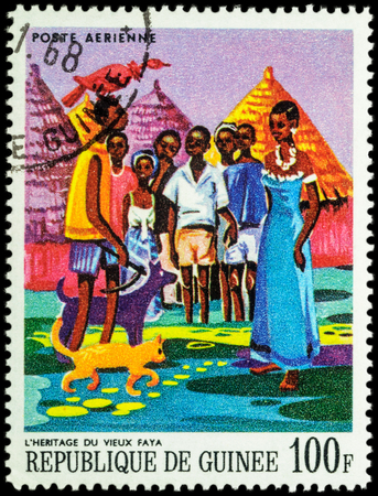 legends: MOSCOW, RUSSIA - MAY 12, 2016: A stamp printed in Guinea shows image of African Legends - Heritage of the old Faya, series Paintings of African Legends, circa 1968