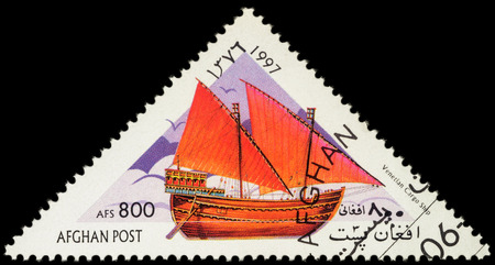 the merchant of venice: MOSCOW, RUSSIA - MAY 17, 2016: A stamp printed in Afghanistan shows image of ancient Venetian cargo ship, series Sailing Ships, circa 1997 Editorial