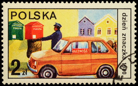 post mail: MOSCOW, RUSSIA - MAY 20, 2016: A stamp printed in Poland shows postman collected letters from mailbox, series The Day of the Stamp, circa 1980 Editorial