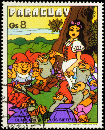seven dwarfs: MOSCOW, RUSSIA - MAY 21, 2016: A stamp printed in Paraguay shows Seven Dwarfs and Snow White, series International Year of Child - Grimms Fairy Tale Snow White and the Seven Dwarfs, circa 1978