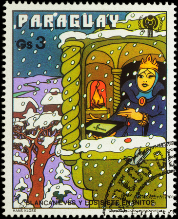seven dwarfs: MOSCOW, RUSSIA - MAY 21, 2016: A stamp printed in Paraguay shows Queen in winter time, series International Year of the Child - Grimms Fairy Tale Snow White  and the Seven Dwarfs, circa 1978