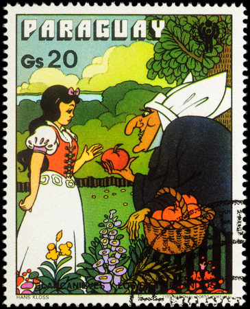 legends folklore: MOSCOW, RUSSIA - MAY 21, 2016: A stamp printed in Paraguay shows Snow White and crone, series International Year of the Child - Grimms Fairy Tale Snow White and the Seven Dwarfs, circa 1978
