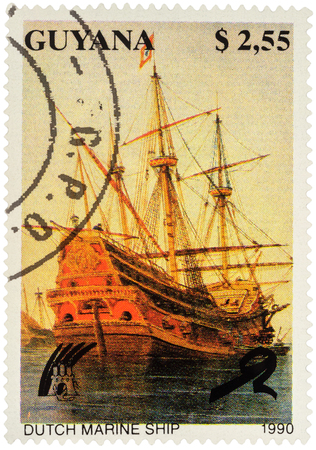 netherlandish: MOSCOW, RUSSIA - APRIL 29, 2016: A stamp printed in Guyana shows ancient Dutch sailing marine ship, series Ships, circa 1990