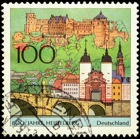 MOSCOW, RUSSIA - JUNE 02, 2016: A stamp printed in Germany shows ancient German city Heidelberg, devoted to the 800th Anniversary of Heidelberg, circa 1996