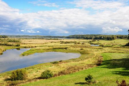 gory: View of valley of Soroti river near the village Mikhailovskoye, Pushkinskiye Gory Reserve, Russia