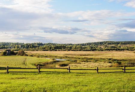 gory: Valley of Soroti river near the village Mikhailovskoye, Pushkinskiye Gory Reserve, Russia Stock Photo