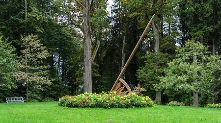 gory: Sundial in park of the village Trigorskoye, Pushkinskiye Gory Reserve, Russia Stock Photo