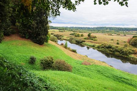 gory: View of Soroti river near the village Trigorskoye, Pushkinskiye Gory Reserve, Russia