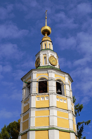 uglich russia: Top of bell tower of Spaso-Preobrazhensky (Transfiguration) Cathedral in Uglich, Russia