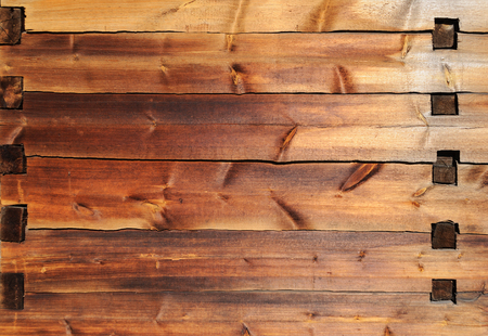tenon: Texture of old wooden wall with mortise and tenon joint