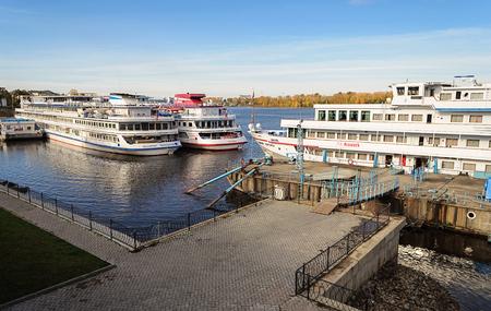 passenger ships: Passenger ships at the berth of Uglich, Volga river, Russia Editorial