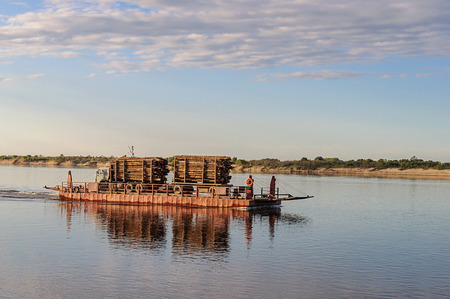 autotruck: River ferry with timber on the Northern Dvina near Krasnoborsk, Russia. Sunset