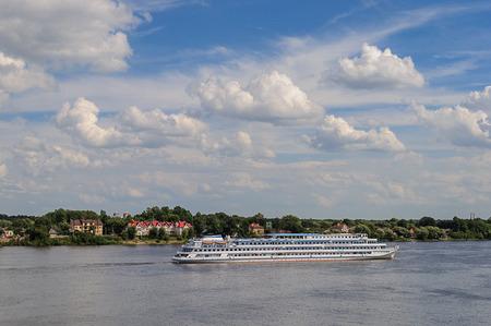 volga river: Passenger ship Mikhail Sholokhov on Volga river in Yaroslavl, Russia