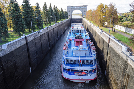 hydroelectric power station: Passenger ship Lenin in the shipping lock of Uglich hydroelectric power station, Volga river, Russia