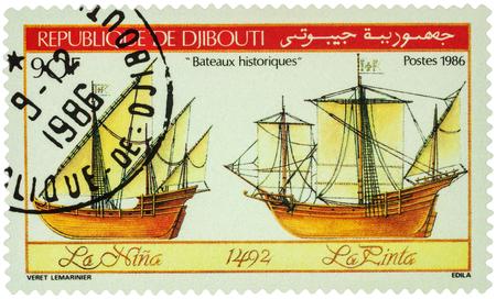 pinta: MOSCOW, RUSSIA - AUGUST 05, 2016: A stamp printed in Djibouti shows antique sailing ships La Nina and La Pinta, series Historic Ships of Columbus, 1492, circa 1986