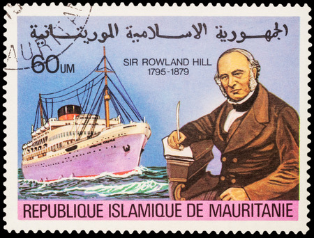 passenger ship: MOSCOW, RUSSIA - AUGUST 19, 2016: A stamp printed in Mauritania shows passenger ship, series The 100th Anniversary of the Death of Sir Rowland Hill, 1795-1879, circa 1979