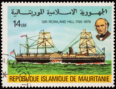 18 wheeler: MOSCOW, RUSSIA - AUGUST 18, 2016: A stamp printed in Mauritania shows old side wheeler on the river, series The 100th Anniversary of the Death of Sir Rowland  Hill, 1795-1879, circa 1979