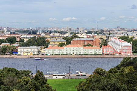 embankment: Top view of the Neva river and the University Embankment with Peter II Palace in St. Petersburg