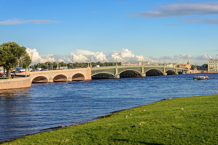 Trinity Bridge across the Neva River in St. Petersburg, Russia