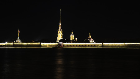 bastion: Night view of Neva River and Peter and Paul Fortress in St. Petersburg, Russia