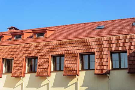 New tiled roof of house in Trinity Suburb, old part of Minsk, Belarus