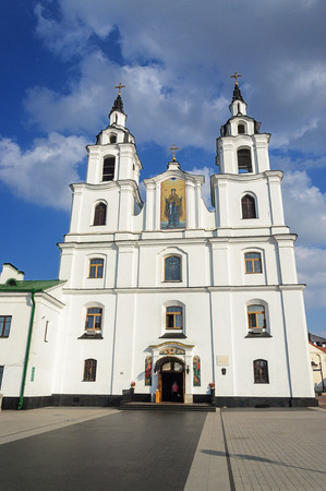 Facade of Cathedral of the Descent of the Holy Spirit in Minsk, Belarus