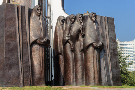 army face: Fragment of Monument to soldiers-Afghans on the Island of Courage and Sorrow (Island of Tears) in Minsk, Belarus