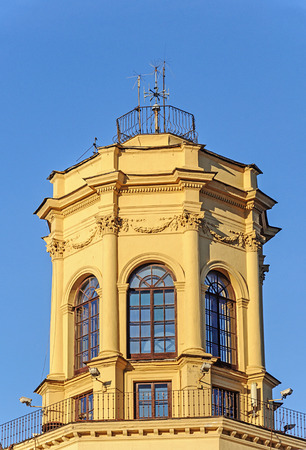 Small turret on top of old building in Minsk, Belarus. Soviet architectural style from Stalins empire.