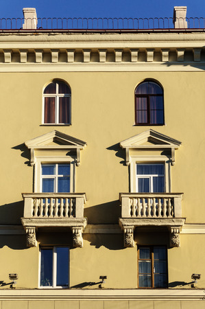 Fragment of old building with two balconies (Stalins empire) in Minsk, Belarus Stock Photo