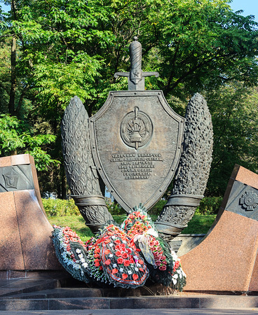 Fragment of Monument to police officers dead in Minsk, Belarus