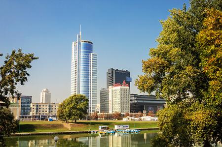 svisloch: View of center of Minsk city across the Svisloch river Editorial