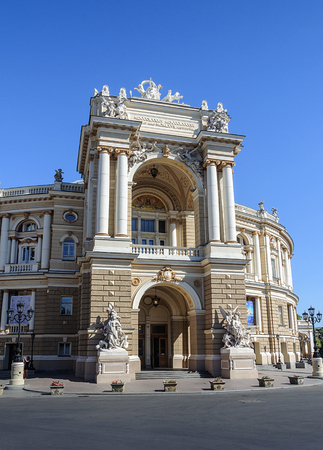 odessa: Main entrance of the Odessa National Academic Theatre of Opera and Ballet, Odessa, Ukraine Editorial