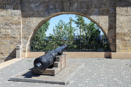 Old cannon at the ancient fortress wall in Odessa, Ukraine