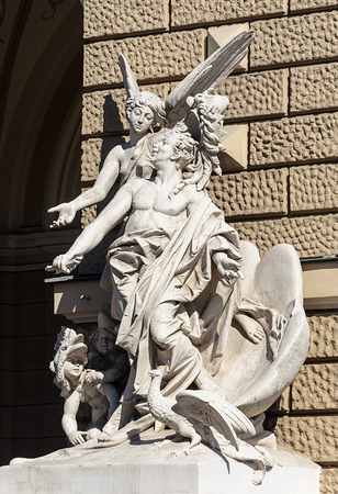 episode: Sculpture at the entrance of Opera and Ballet Theater in Odessa, Ukraine. An episode of the comedy of Aristophanes Birds.