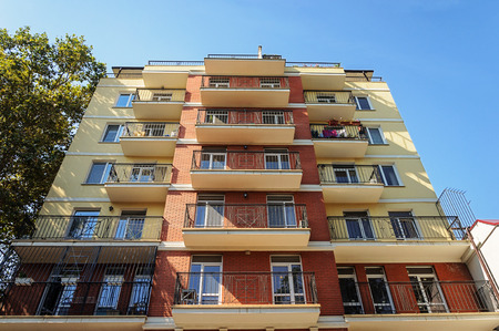 New residential building in Odessa, Ukraine. View from below. Stock Photo