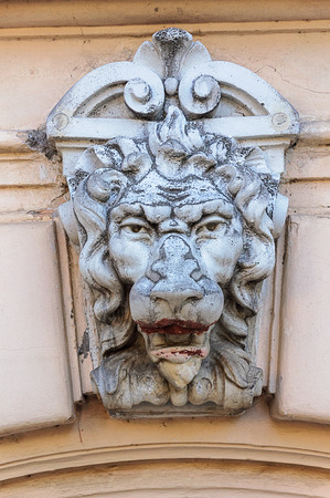 Bas-relief of lions head on the wall of old building in Odessa, Ukraine