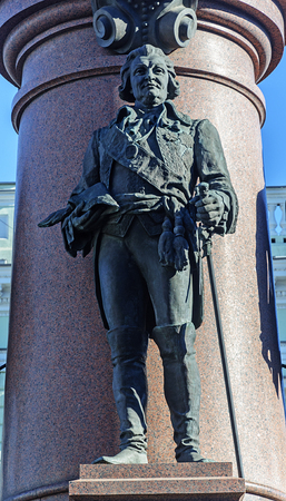 Sculpture of Prince Grigory Potemkin Tauride at the base of the monument to the founders of Odessa Stock Photo