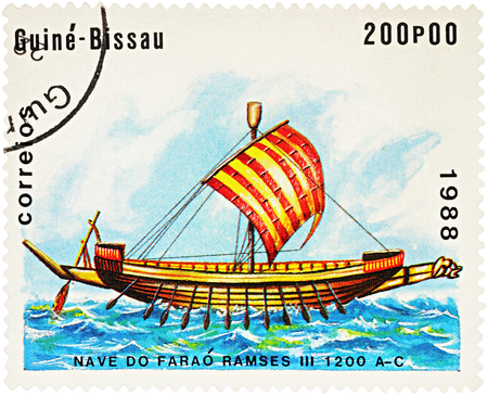 MOSCOW, RUSSIA - NOVEMBER 04, 2016: A stamp printed in Guinea-Bissau shows image of ancient Egyptian ship times Pharaoh Ramses III (1200 B.C.), series Sailing Ships,  circa 1988 Editorial