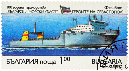 MOSCOW, RUSSIA - NOVEMBER 07, 2016: A stamp printed in Bulgaria shows ferryboat Heroes of Sevastopol, series Ships - The 100th Anniversary of the Bulgarian Merchant Fleet, circa 1992 Editorial