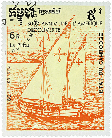 pinta: MOSCOW, RUSSIA - NOVEMBER 04, 2016: A stamp printed in Cambodia shows ship Pinta, 1st expedition of Columbus (1492), series The 500th Anniversary of Discovery of America by Columbus, circa 1991 Editorial