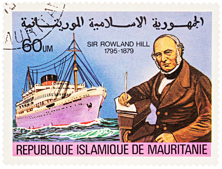 passenger ship: MOSCOW, RUSSIA - NOVEMBER 08, 2016: A stamp printed in Mauritania shows passenger ship, series The 100th Anniversary of the Death of Sir Rowland Hill, 1795-1879, circa 1979