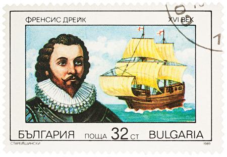 discoverer: MOSCOW, RUSSIA - NOVEMBER 10, 2016: A stamp printed in Bulgaria shows Sir Francis Drake - English navigator, series Explorers, circa 1989