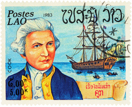 descubridor: MOSCOW, RUSSIA - NOVEMBER 08, 2016: A stamp printed in Laos shows Captain James Cook and his ship Resolution, series Explorers and their Ships, circa 1983